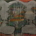 Color under Gray. 2010. Oil paint on canvas. Diptych, 80″ x 46″ total